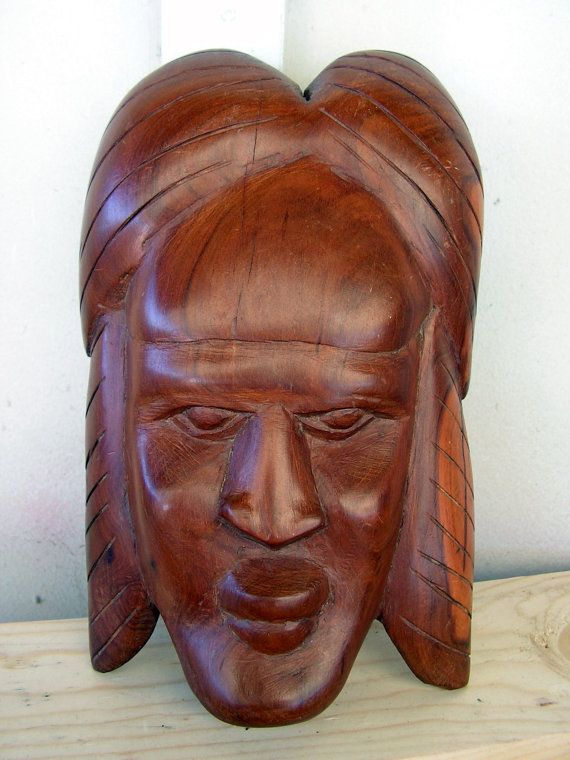 Vintage tribal face mask balinese african wood carving
