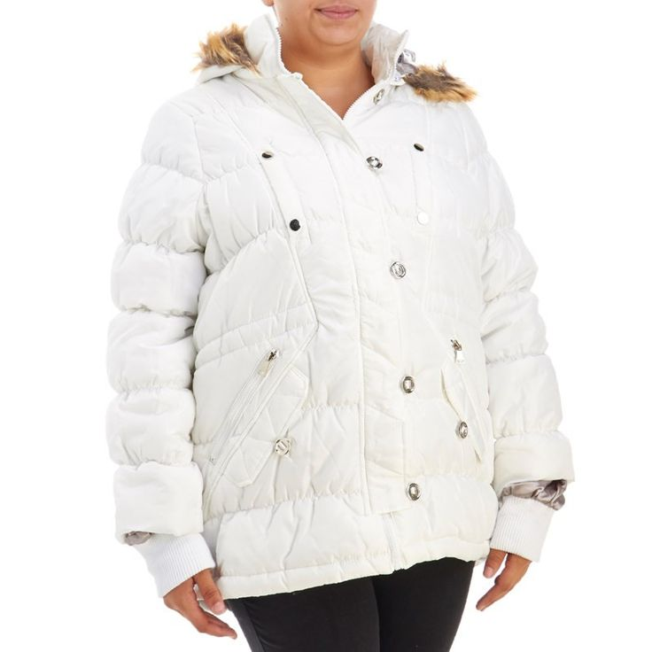 Junior plus size puffer coat with faux fur trim hood