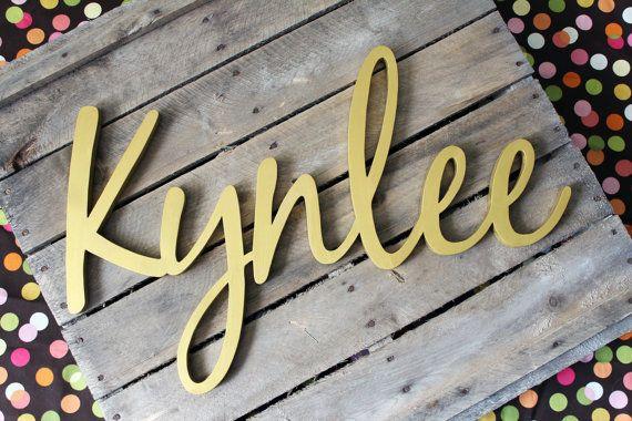 Kynlee Wooden Name Sign Metallic Gold by CucumberAppleStudio