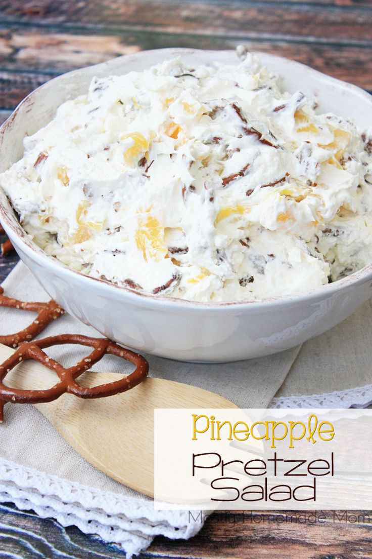 This Pineapple Pretzel Salad is the perfect mix of salty and sweet! Salty pretzels mixed with cream cheese, whipped cream, and pineapple chunks - this is a perfect no-bake dessert for parties!