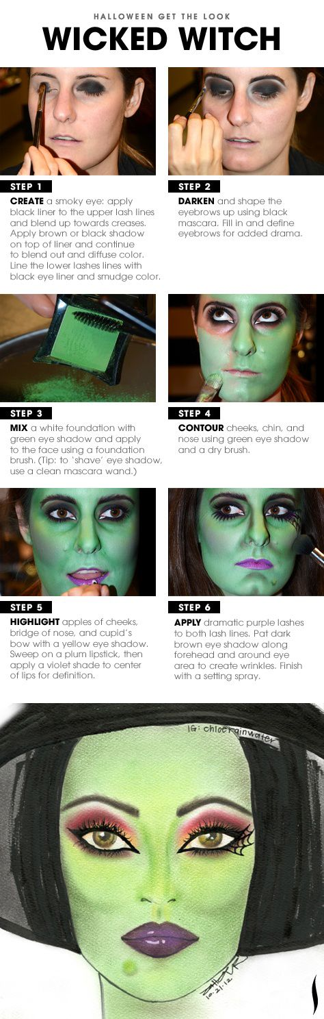 wicked witch, day of the dead and other make-up ideas - 15 Terrifying Halloween Makeup Tutorials To Take Your Costume To The Next Level