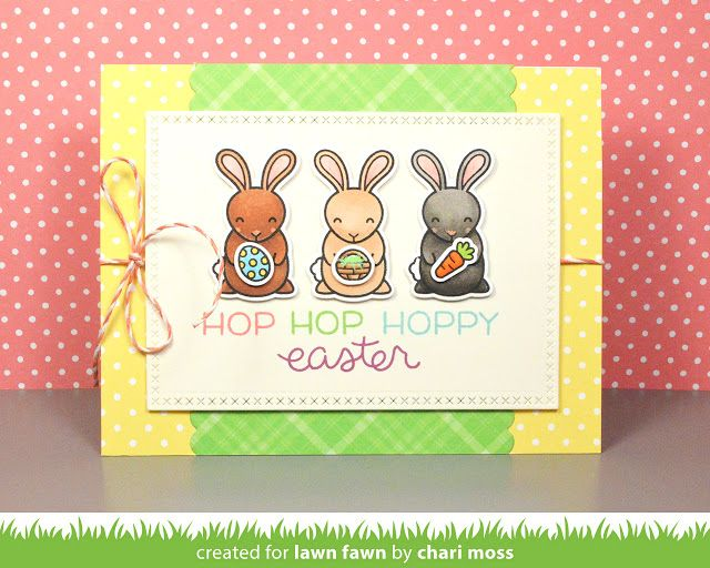 Lawn Fawn - Hoppy Easter, Cross-Stitched Rectangle Stackables _ card by Chari for Lawn Fawn Design Team