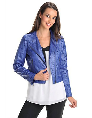 BIANCA NYGARD Perforated Faux Leather Motorcycle Jacke
