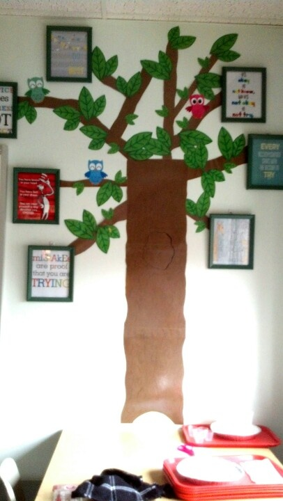 "Just made this for my classroom! Wall display.   I call it the ""inspirational tree"".   Make a tree base from brown const. Paper, I found leaf patterns and the cute owls on google images and printed a bunch. The quotes are right from pintrest (some of my fav) and the frames are from the dollar store that I painted green with extra paint I had around the house. Cheap but packs a punch! BOOM!"