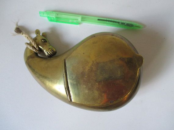 Brass Container Vintage Mystery Camel Head Top by HobbitHouse