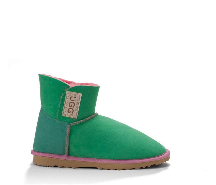 Papaya Mini Velcro UGG Boots. Made in Australia by Original UGG Boots. #uggboots #australianmade #ugg #uggs #sheepskin #papaya #aqua