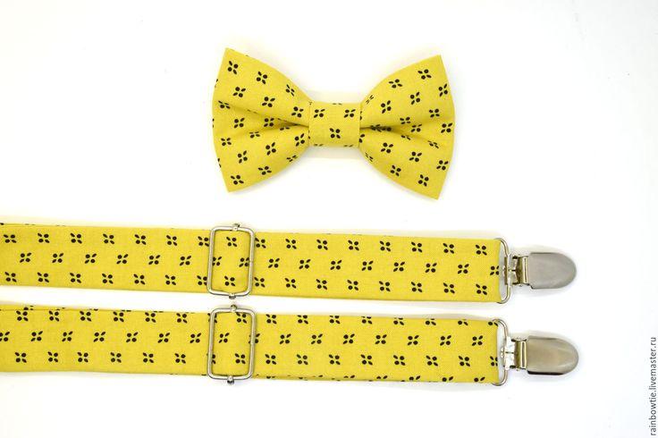 """Купить Комплект бабочка и подтяжки """"Джерис"""" - желтый, орнамент, галстук-бабочка, галстук бабочка"""