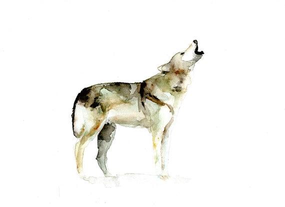 Origineel waterverf schilderij van een huilende wolf door Zendrawing, €55.00
