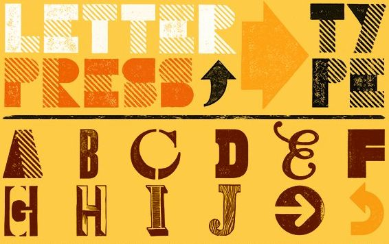 Letterpress Type (A Display Font) - Letterpress Type, designed by The Organic Type, is a typeface that must be placed by hand. But the effect is worth the effort. You'll be able to add great texture and personality to your designs with these letterforms and symbols.