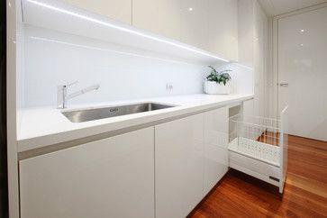 Laundry in white plus built in hamper
