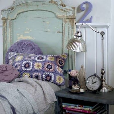 love the crochet pillow!Ideas, Beds, Purple, Headboards, Colors, Granny Squares, Crochet Pillows, Shabby Chic Bedrooms, Shabbychic
