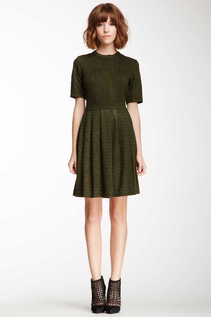 Bobeau Snake Print Fit-N-Flare Dress// Loe the moss green color//