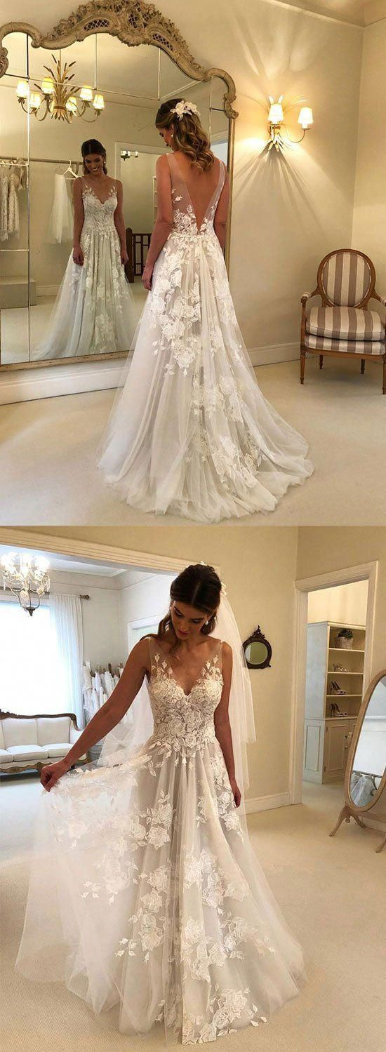 White v neck lace tulle long prom dress, lace even…