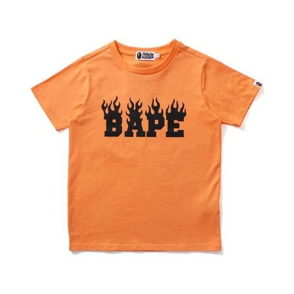 NEON COLOR BAPE FLAME TEE LADIES ($115) ❤ liked on Polyvore featuring tops, t-shirts, a bathing ape, neon t shirts, a bathing ape t shirts, red tee and neon tees