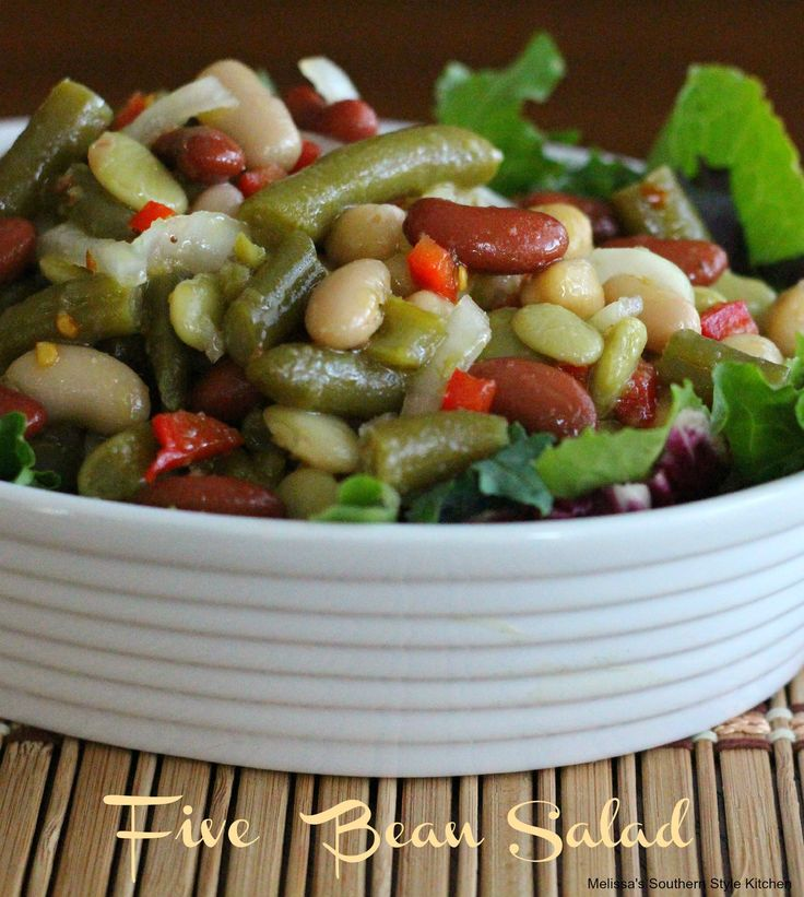 5 Bean Salad - Bean salad is an old fashioned type of refrigerator salad. Lately, I've been doing a lot of nostalgic cooking, so, it was time to add this salad to my recipe archives. The flavor of the brine has a sweet and sour edge and we enjoy a bit of heat by adding red pepper flakes. It's a perfect salad for making in advance and it gets even better the longer it sits.