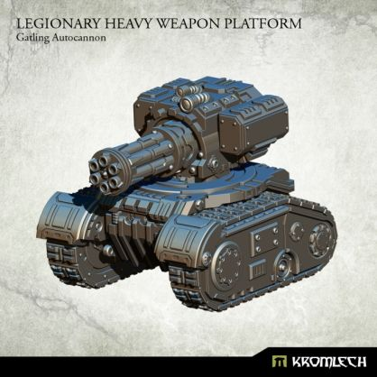 This set contains one resin Legionary Heavy Weapon Platform armed with Gatling Autocannon. Designed to fit futuristic 28mm heroic scale vehicles. This model is approximately 53mm long, 44mm wide and 45mm height