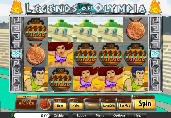 "In time for the London Games of the XXX Olympiad, BetOnSoft releases a huge 50 payline slots game dubbed, ""Legends of Olympia"". Play with these stylized legends of antiquity to take down big jackpots. Rarely do we see a fifty payline slots game with expanding wilds.: Casino Games, Casino Bonus, Casino Chips, Games Dub, Bonus Codes, Casino Slot, Slot Games, Free Plays, London Games"