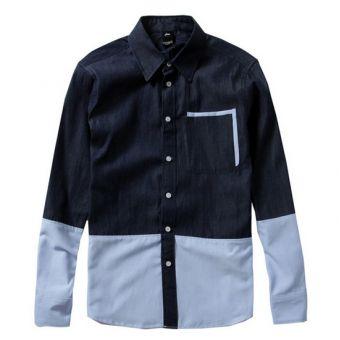 AES Denim Mix Button Up Shirt (Denim/Blue)  #aes #streetwear #streetfashion #fashion #urbanwear #longsleeves #buttonupshirt