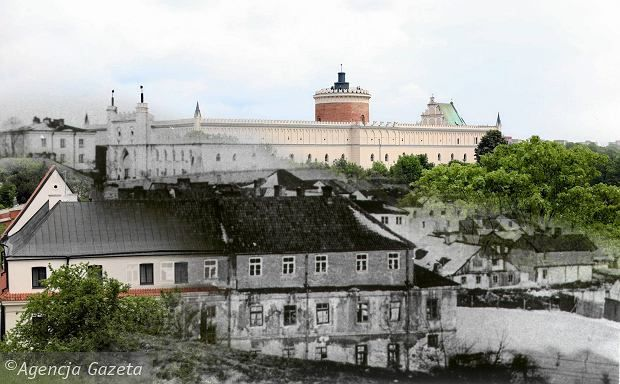 Then and now, view from Podwale onto the Podzamce district of Lublin