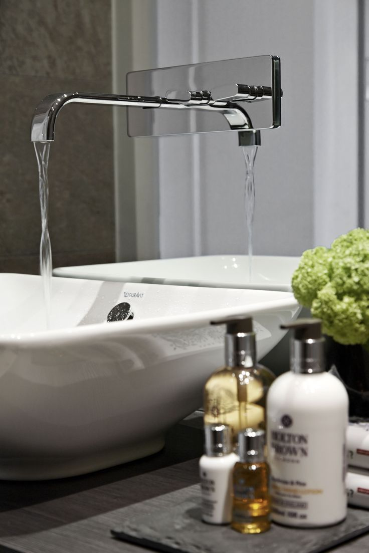Contemporary bathroom taps uk - Family Bathroom Tap Basin And Styling Detail Molton Brown Toiletries On Slate Mat