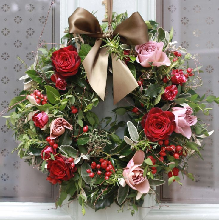 The Real Flower Company Christmas Luxury Antique and Red Rose Door Wreath...classic with rose hips