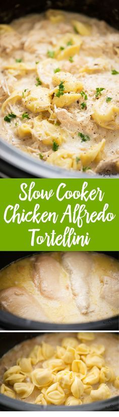 Slow Cooker Chicken Alfredo Tortellini - Warm and comforting on a cold winter night. This easy, cheesy dinner recipe is now a family favorite!