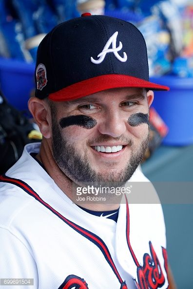 Matt Adams of the Atlanta Braves looks on during a game against the New York Mets at SunTrust Park on June 10, 2017 in Atlanta, Georgia. The Mets defeated the Braves 6-1.
