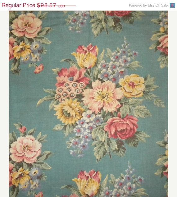 Surprise 30 Off Sale Shabby Vintage Barkcloth Cotton by RuinsCa, $69.00