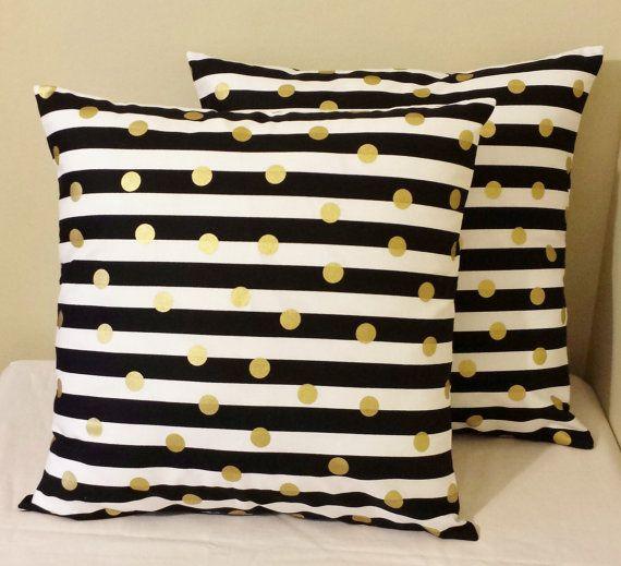 Set of 2 Black white striped gold polka dots by DashingDecor