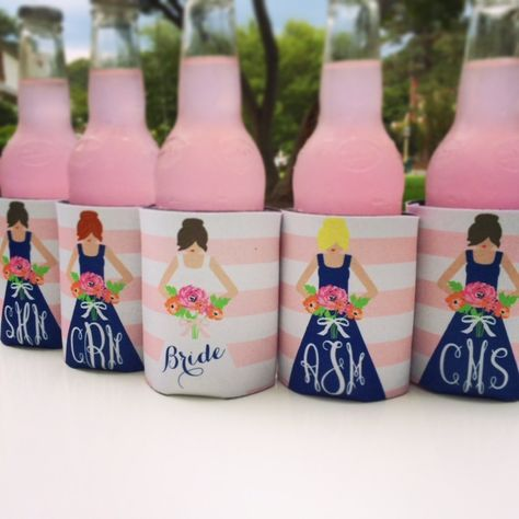 personalized bridesmaid koozies- cute way to ask bridesmaids