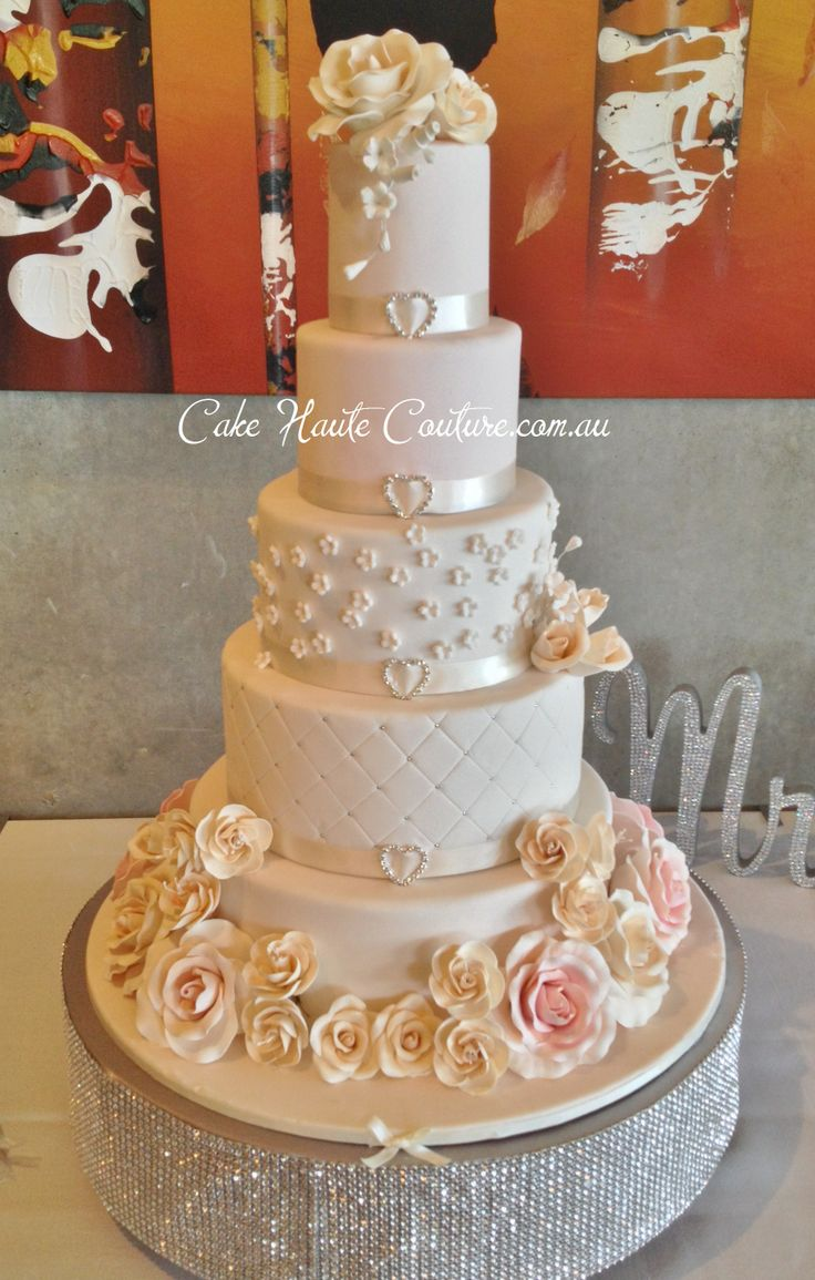 5 Tier Tall Round Wedding Cake Blush Pink With Roses