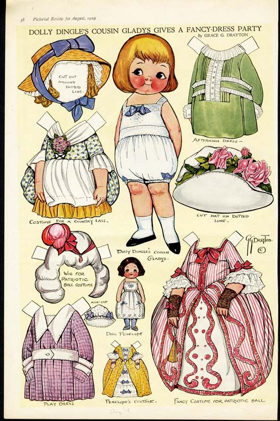 Free Dolly Dingle Paper Dolls | Vintage DOLLY DINGLE Paper Dolls 1919 - FANCY DRESS PARTY Paperdolls ...