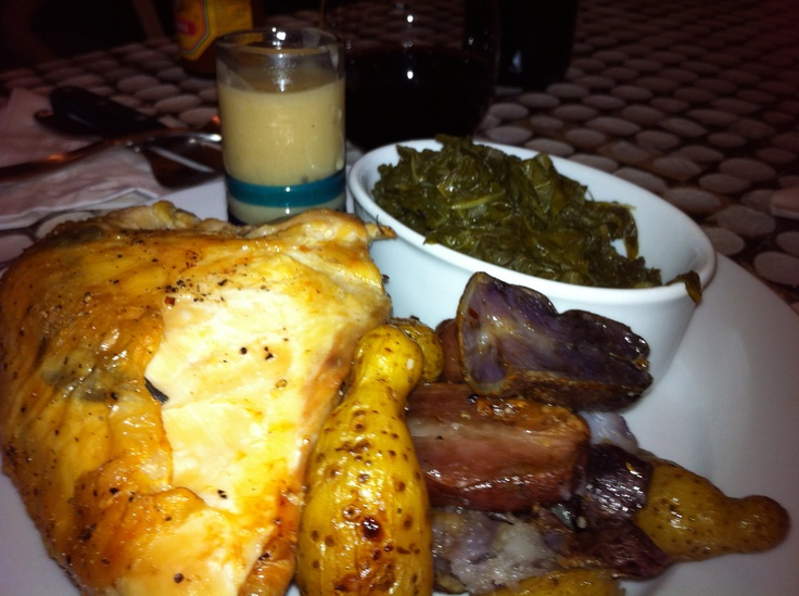 Sage Roasted Chicken Fingerling Potatoes Greens & Herb Gravy