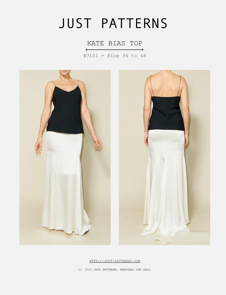Just Patterns 3101 Kate Bias Top Downloadable Pattern sewing pattern
