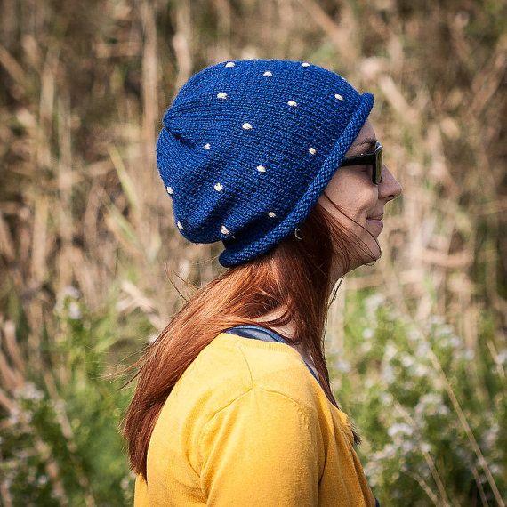 Blue Polka Slouchy Beanie Hat / Fall Winter Knit by RUKAMIshop