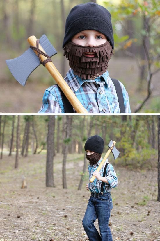 Lumberjack with Beard and Axe | Click for 24 DIY Halloween Costumes for Kids to Make | DIY Halloween Costumes for Boys