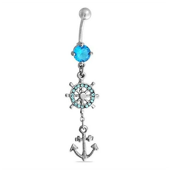 Bling Jewelry Aquamarine Color Nautical Anchor Wheel Dangle Belly Ring... (€9,82) ❤ liked on Polyvore featuring jewelry, blue, nautical jewelry, blue steel jewelry, steel body jewellery, aquamarine jewellery e body jewellery