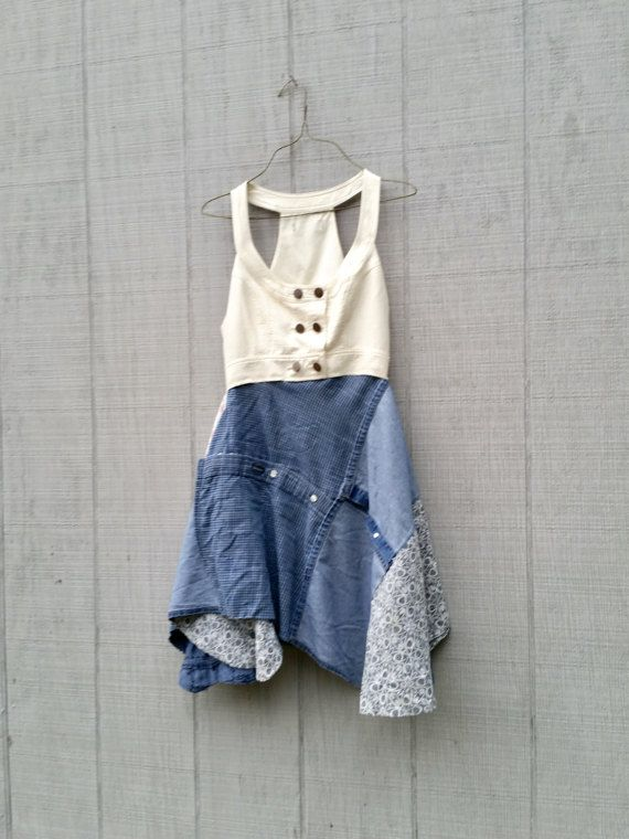 This fun sleeveless upcycled winter white and jean tunic is sure to be a fave in your closet! Made from upcycled jersey cottons and a ladies vest! It has a nice loose fit skirt section and fitted in the bodice and looks very stylish on the body - pair it with skinny jeans or leggings and a pair of boots!! love love love this dress :)  SIZE - as is XSmall - Small - i can easily upsize it - just let me know at checkout! Chest - 16 across front lying flat - NO stretch waist - 13 1/2 across ...