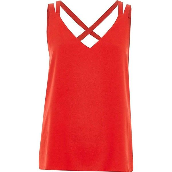 River Island Petite red cross back double strap cami top ($36) ❤ liked on Polyvore featuring tops, cami / sleeveless tops, red, women, red tank, red tank top, red sleeveless top, red cami and petite tops