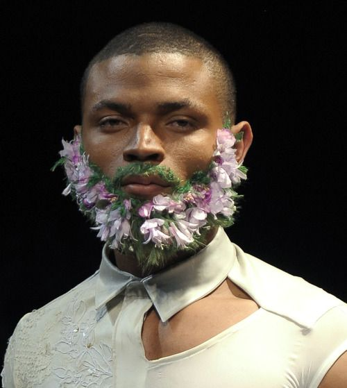 boy style, eclectic, fairy from: wgsn-- Fabien Verriest's floral beards made us smile at La Cambre National School of Visual Arts final MA show.