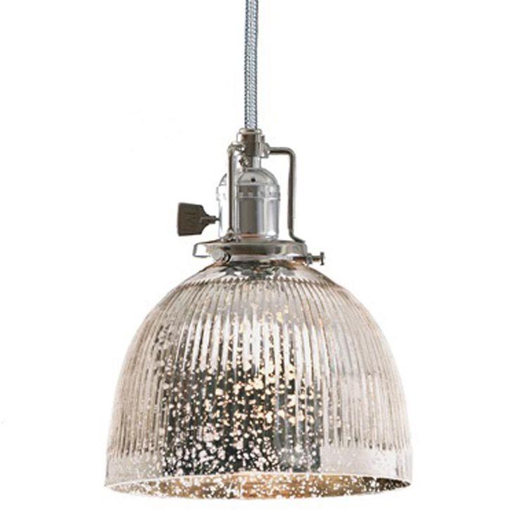 Mercury Glass Light Fixtures Part - 16: Ribbed Dome Mercury Glass Shade Pendant Light