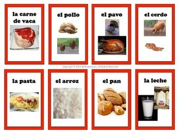 Spanish Food Vocabulary Flashcards and Word Wall - This is a set of 24 printable Spanish flashcards all about food that students can use to learn and study Spanish in a fun way! Also included is an enlarged set of these cards that you can post in your classroom as a Spanish food word wall or bulletin board. I've also included a list of 7 different games and fun activities they can be used with to meet the needs of auditory, visual, and kinesthetic learners.