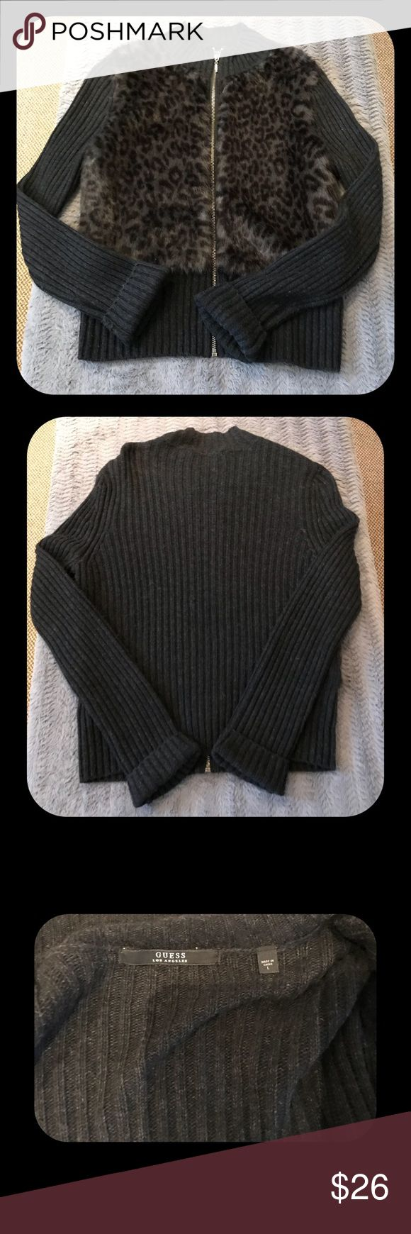 """GUESS Los Angeles Sweater sz  L Faux fur Guess sweater jacket.  Soft animal print black/grey faux fur front. Length approx 24"""" across chest approx 19"""".  Across back shoulder approx 15"""". Previously Worn condition...only a few times. Guess Jackets & Coats"""