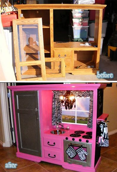 play-kitchen-design-kids-room-decor...I'm not huge on hot pink/zebra but this looks pretty cool.