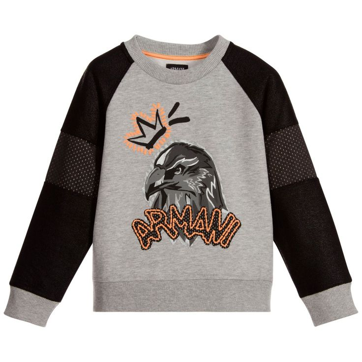 ARMANI JUNIOR Boys Grey & Black Eagle Sweatshirt