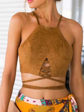 Shop Top Corto Antelina Con Lazo Color Camello from choies.com .Free shipping Worldwide.$7.99