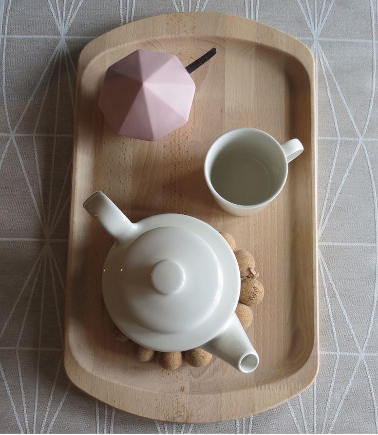 Teema Teapot & Mug by Iittala Treasure Diamond & Cork Coaster by Ferm Living Kehra tablecloth by Lapuan Kankurit  http://www.aitonordic.com/