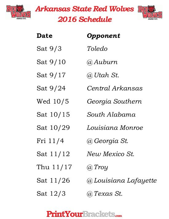 Printable 2016 Arkansas State Red Wolves Football Schedule