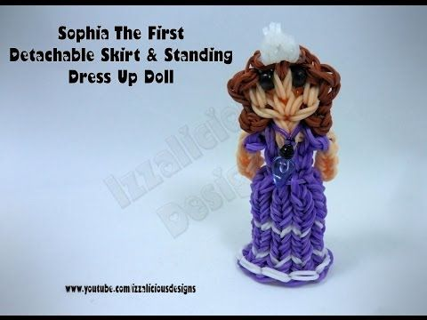 Rainbow Loom Princess SOFIA the FIRST Figure - Detachable Skirt & Standing Dress Up Doll. Designed and loomed by Kate Schultz of Izzalicious Designs. Click photo for YouTube tutorial. 04/26/14.