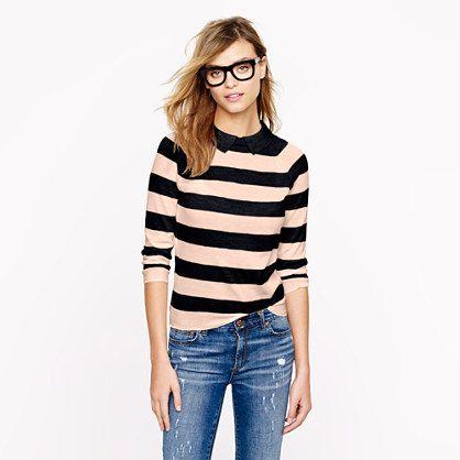 Peter Pan merino sweater in stripe/ Jcrew